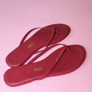 TKEES Monogrammed Maroon Leather Flip-Flop Sandals